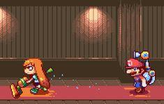 Splatoon and Super Mario Sunshine Super Mario Kunst, Super Mario Art, Video Games Funny, Funny Games, Pokemon, Metroid, Pixel Gif, Super Mario Sunshine, Flipper