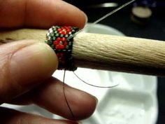 How To Bead Tubular Peyote Stitch Needle Case Snowman Pattern by Beth Murr - YouTube