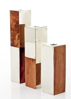 JUNIN CANDLESTICKS · wood and alpaca metal · AIREDELSUR by Marcelo Lucini
