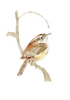 Carolina Wren original watercolor painting, Bird art, Wren, bird lover, south Carolina state bird