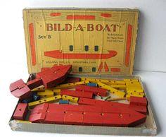 Antique 1925 Vintage Bild A Boat Wooden Toy Set in Box, Unquowa Mfg, Statford CT, Patent Set