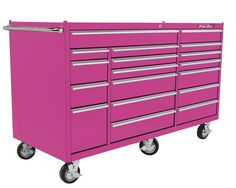 The Original pink box steel enamel rolling tool cabinet 72-Inch 18 Drawer Rolling Cabinet