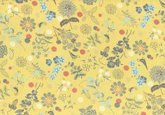 HALF YARD Lecien - Isso Ecco and Hearts - Wildflower Meadow and Bird on Yellow- Cotton Lawn - Pink Purple Green Yellow - Japanese Import by fabricsupply on Etsy