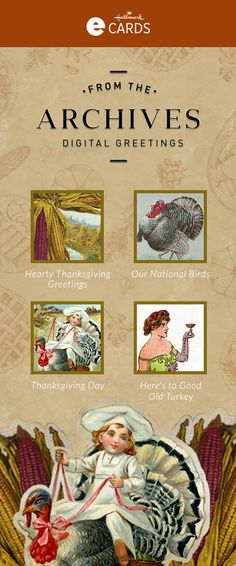 Send Vintage Thanksgiving eCards from the Hallmark archives. Browse the selection of eCards, personalize & send an online greeting today! Thanksgiving Ecards, Vintage Thanksgiving, Thanksgiving Ideas, Our National Bird, Hallmark Cards, Vintage Recipes, Give Thanks, Vintage Cards, Good Old