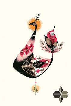 Bird by Fantastic Hysteria (via The Zoo Keeper) #bird #FantasticHysteria #pink #yellow #black