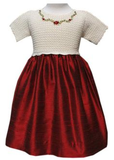 Girls Hand knitted Christmas Party Dress with Red Silk Skirt – Carousel Wear
