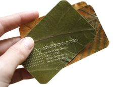 environmentally friendly business cards, made from dried leaves. designed by Tyra van Mossevelde/ Studio Mosgroen www.mosgroen.nl/p... #design #stationery
