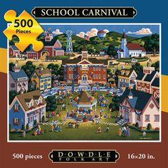 Jigsaw Puzzle - School Carnival 500 Pc By Dowdle Folk Art - discount free pattern