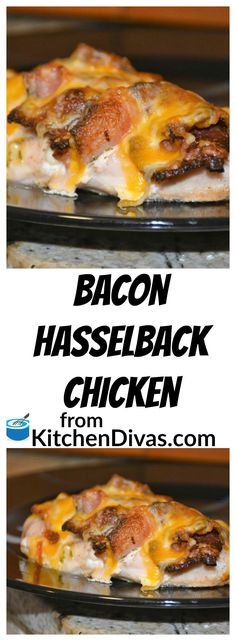This recipe for Bacon Hasselback chicken is another delicious version of Hasselback chicken that we make. This is Ken's favorite version. I know it is because he loves bacon. He truly believes that ba (Favorite Recipes Butter) Spinach Stuffed Chicken, Chicken Bacon, Chicken Recipes, Keto Chicken, Canned Chicken, Chicken Wraps, Tiphero Recipes, Recipies, Hasselback Chicken