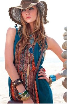 Pretty Turquoise Boho Outfit