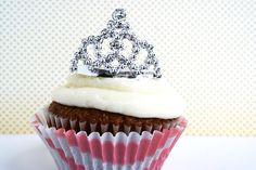 Tiara Cupcake Toppers (6) / Princess Cupcakes/ Girly Cupcake toppers