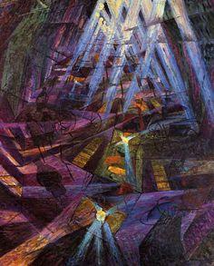 Gino Severini, The Street, 1911 Futurism Art, Retro Futurism, Italian Painters, Italian Artist, Moma, Nocturne, Gino Severini, Umberto Boccioni, Giacomo Balla