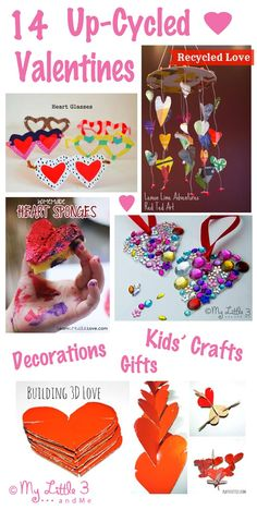 Creating a fun filled, pretty Valentine's day for loved ones won't cost the earth with these 14 cute and easy up-cyled Valentine's Day ideas...