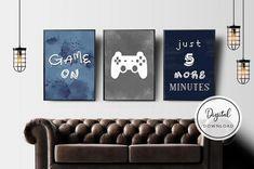 Bedroom Games, Bedroom Ideas, Gaming Wall Art, Video Game Posters, Orange Wall Art, Game Room Decor, Gamer Room, Mid Century Modern Art, Wall Art Sets