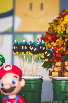 Doces. / Candy. #supermario #mariobros #themedparty #festa #aniversário #party #inspiração #inspiration #blue #red #green #yellow
