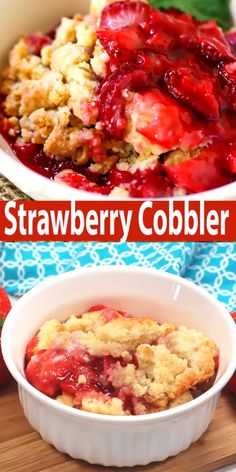 Strawberry Cobbler - An easy cobbler recipe using fresh strawberries. Serve with ice cream for a fantastic Summer dessert! Strawberry Cobbler - An easy cobbler recipe using fresh strawberries. Serve with ice cream for a fantastic Summer dessert! Strawberry Cobbler, Strawberry Dessert Recipes, Summer Dessert Recipes, Strawberry Ideas, Strawberry Crisp, Strawberry Brownies, Strawberry Pie Recipe Using Frozen Strawberries, Desserts With Strawberries Easy, Easy Summer Desserts