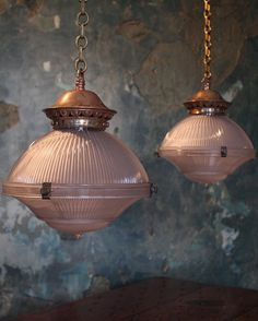 Pair of three part prismatic Holophane pendants #holophane #lighting #interior #decorative #antique by thelondonschoolforscandal
