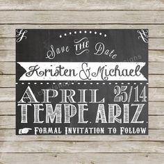Chalkboard Save The Date Printable Wedding