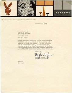 Playboy letterhead, So, so good. Also, I don't even want to see what they're using for letterhead now. Letterhead Business, Letterhead Design, Typography Design, Lettering, Business Cards, Letterhead Format, Vintage Graphic Design, Graphic Design Inspiration, Vintage Designs