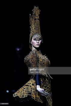 A model showcases garments from artists and designers from all around the world at the dress rehearsal of WOW at TSB Bank Arena on September 24, 2014 in Wellington, New Zealand.  (Photo by Hagen Hopkins/Getty Images)