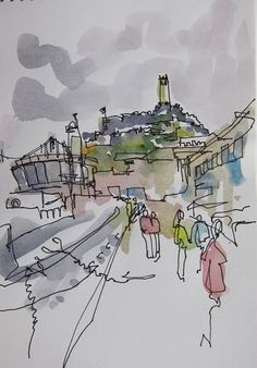 Doing the touristy thing with watercolour wash and pen