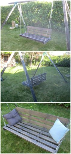 Creation of a swing armchair with a pallet and an old swing set. Wood Projects For Beginners, Scrap Wood Projects, Garden Projects, Recycling Projects, Pallet Projects, Diy Pallet Furniture, Recycled Furniture, Wood Pallets, 1001 Pallets