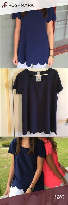 HerShe scallop blouse NWT. Recently purchased. Size small. Scalloped navy blue blouse. It's a really cute shirt but it fits extremely loose on my frame. 100% polyester. Tops Blouses