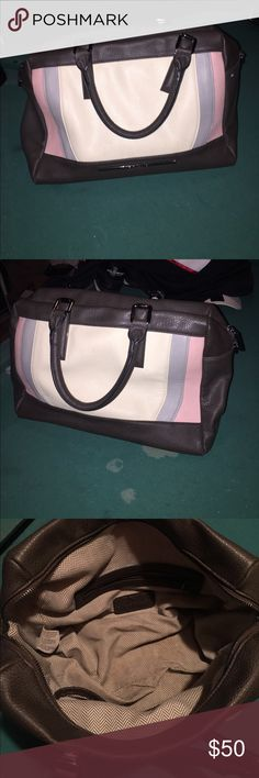 Steve Madden Bag Brown tore with baby pink, grey, and cream colors. Almost like a vintage bowling bag. Inside has zip pocket and bottom is a little dirty. Overall great condition bag. Accessories