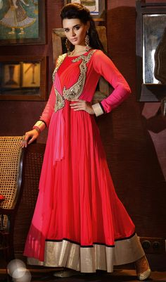 Pink and Red Chiffon Embroidered Gown Price: Usa Dollar $535, British UK Pound £332, Euro421, Canada CA$599 , Indian Rs28890.