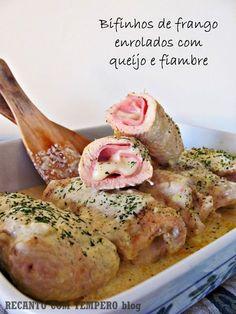 Recanto com Tempero: Bifinhos de frango enrolados com queijo e fiambre