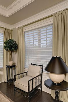 Blind Ambition With all the openings in the house, there is a need for.,Blind Ambition With all the openings in the house, there is a need for sun protection as well as privacy. Hunter Douglas blinds and shutters provide b. Bedroom Curtains With Blinds, Blinds For Windows, Window Blinds, Lounge Curtains, Wood Blinds, Living Room Windows, Living Room Decor, Bedroom Decor, Bedroom Green