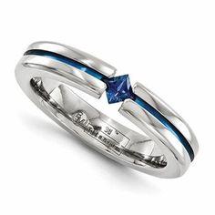 Mens Titanium Promise Ring with Sapphire