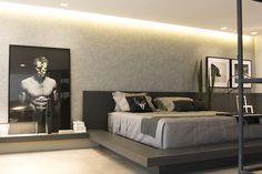 Decoração de: Quarto de casal; parede texturizada cinza; Casa de Valentina