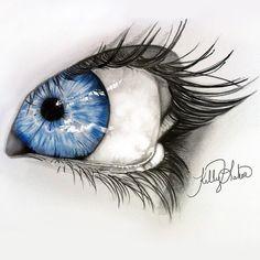 pencil drawing by Kelly Lahar 2 Graphite Drawings, Pencil Art Drawings, Drawing Sketches, Amazing Drawings, Cool Drawings, Amazing Art, Eagle Drawing, Eye Drawing Tutorials, Realistic Eye Drawing