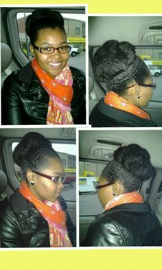 Protective style, wanna go buy some Marley hair to make my bun bigger like this!