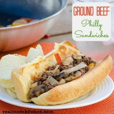 Ground Beef Philly Sandwiches Ingredients 1lb. ground beef salt and pepper 1onion, thinly sliced 1red or greenpepper, cut intostrips 1cupsliced mushrooms 3Tbspsteak sauce 1cupbeefbroth 4-6 Sub/Brat Buns(I used the brat buns from Costco.The number ofbuns used will depend onhow full you want your sandwich) 4-6 slices of provolone(double that amount if you really like cheese) Instructions 1. Ina large skillet, brown beef until fully cooked. Seasonwith salt and pepper.Remove from skillet and set…