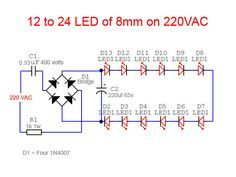 Mains Operated LED Light Circuit Circuit diagram