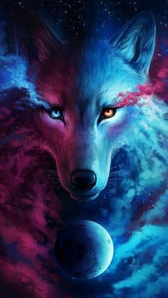 Where Light and Dark Meet - Signed Fine Art Giclee Print - Wall Decor - Fantasy Wolf Galaxy Painting by Jonas Jödicke - Today Pin Anime Wolf, Wallpaper Lobos, Wolf Wallpaper, Drawing Wallpaper, Dark Wallpaper, Print Wallpaper, Fantasy Wolf, Fantasy Art, Galaxy Wolf