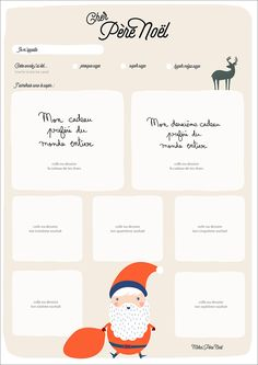 diy-lettre-Père-Noël-à-imprimer. Christmas Is Coming, Little Christmas, Winter Christmas, Christmas Holidays, Christmas Crafts, Diy Xmas, Handmade Christmas Decorations, Christmas Engagement, Christmas Printables