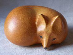 Lisa Larson Signed Fox from the Skansen Series made for Gustavsberg of Sweden, a mid-century modern design