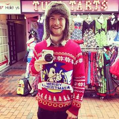 By yellow_bulldog: Want to look as cool as @mrsnapuk ?  You can by visiting our website now to purchase your #sonicthehedgehog Christmas jumper.  You gotta get it fast whilst stocks last!  Remember folks any apparel you buy from us make sure to hashtag #asseenonyb to be featured on our Instagram account.  #sega #sonicthehedgehog #xmasjumper #instafashion #gamers #videogames #retrogamer #retrogames #retrogaming #retrogaming #microhobbit