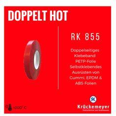 RK 855 - Doppelseitiges Klebeband PETP Folie zum selbstklebenden Ausrüsten von Gummi, EPDM & ABS Folien #Klebeband #Krueckemeyer #Adhesive #Tape #ABS #Folie #Gummi #doppelseitiges
