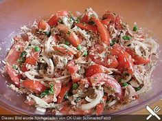 Illes leichter und leckerer Thunfisch – Tomaten – Salat Illes light and delicious tuna – tomato salad 4 Vegan Appetizers, Appetizer Recipes, Salad Recipes, Grilling Recipes, Cooking Recipes, Healthy Recipes, Salad Sauce, Tasty, Yummy Food