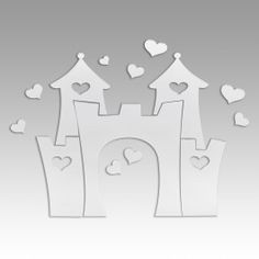 Love Heart Castle - Mirrored Wall Decal - CHILDRENS - WALL DECALS
