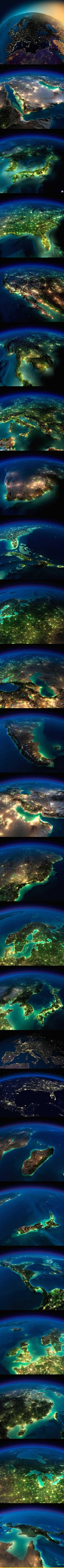 Illuminated Earth as seen from space...