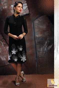 125e08edc7a Get a trend setter look on you next weekend party or function by cladding into  this marvelous black color party wear designer kurti.