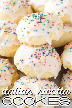 Fluffy and oh so tasty, this Italian Ricotta Cookies Recipe is one you'll treasure for years! Topped with vanilla glaze, these cookies just beg to be eaten! #BreadBoozeBacon #cookies #ricotta #ricottacheese #italianfood #dessert #christmas #easter Ricotta Cheese Cookies, Italian Ricotta Cookies, Italian Cookies, Italian Christmas Cookies, Christmas Recipes, Heart Cookies, Yummy Cookies, Holiday Cookies, Holiday Desserts