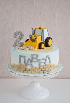 Construction cake by My sweet hobby - Albena Nacheva 2nd Birthday Cake Boy, Toddler Birthday Cakes, Pig Birthday Cakes, Little Boy Cakes, Cakes For Boys, Kids Construction Cake, Architecture Cake, Cake Designs For Kids, Rodjendanske Torte