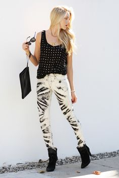 a592a10b3f Printed Jeans and studded top Rocker Boots