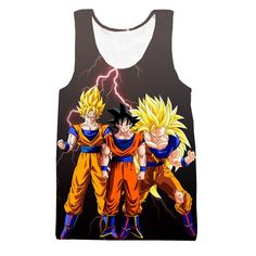 Goku Transformation Thunder Black Super Saiyan Full Print Tank Top